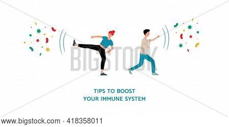 Tips To Boost Immune System With Cartoon People Vector Illustration Isolated.