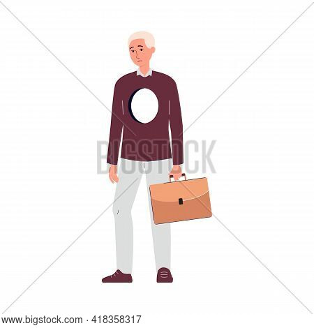 Lonely Man With Empty Hole In Chest, Isolated Sad Person