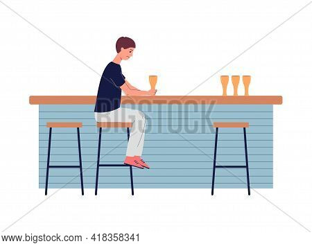 Sad Depression Man In Loneliness Sitting At Bar Counter And Drinks Alcohol.
