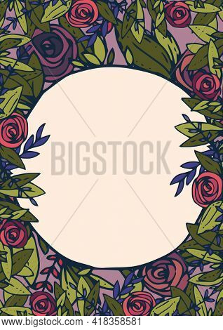 Digitally generated image of floral decoration border frame with copy space on beige background. abstract floral template background design concept