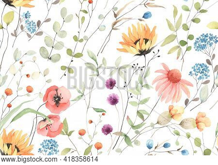 Summer wildflowers, floral seamless pattern with colorful flowers and abstract green plants on white background. Delicate watercolor print for textile, wallpapers or wrapping paper.