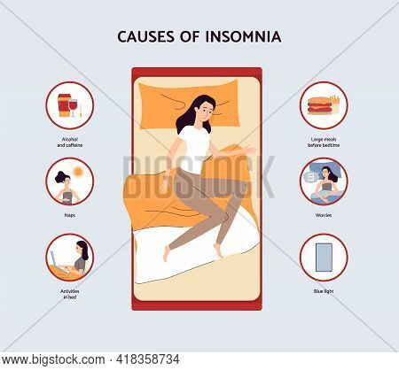Causes Of Insomnia Information Banner Design, Flat Vector Illustration.