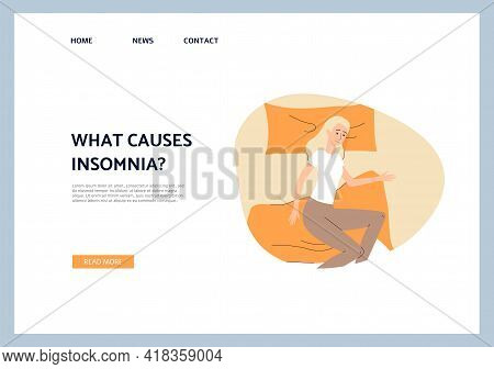 Insomnia Causes Web Banner With Sleepless Woman, Flat Vector Illustration.