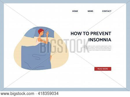 Man Overcome Of Insomnia Sleep In Bed Health Night Slumber A Vector Web Page.