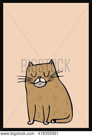 Digital generated image of sleepy cat icon against beige background. abstract template background design concept