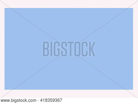 Digital generated image of white frame around plain blue pastel background. abstract template background design concept