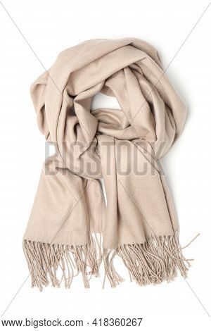 Stylish Beige Cashmere Scarf Isolated On White, Top View