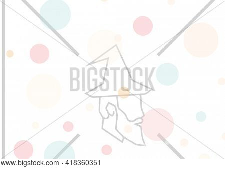 Digital generated image of colorful spots and santa claus icon against white background. abstract template background design concept