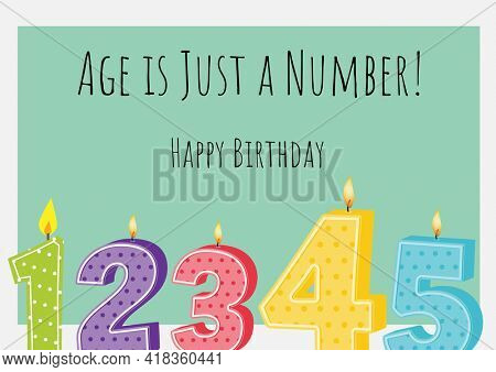 Happy birthday text over multiple burning numerical birthday candles against green background. birthday template background design concept
