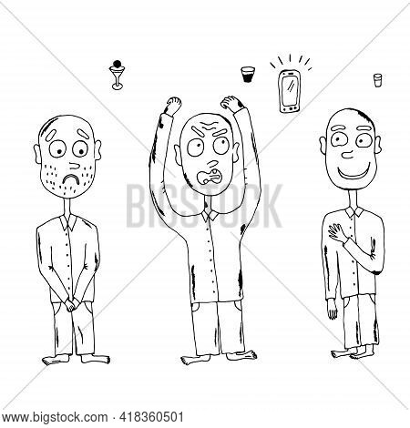 Men, Sad Man, Angry Man Screaming, Kind Man Smiling. Vector Illustration. Isolated. Coloring Pages F