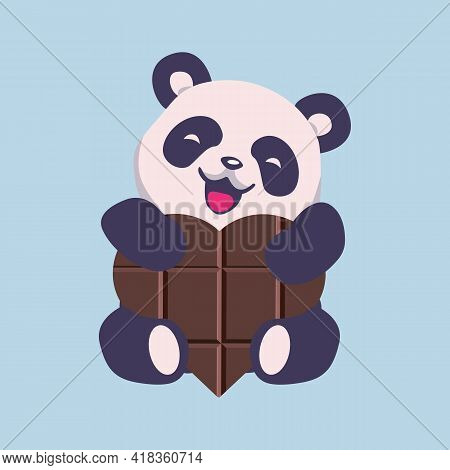 Cute Panda With  Chocolate Heart. Panda Face Carto On Icon, Vector Illustration. Greeting Card Of Pa