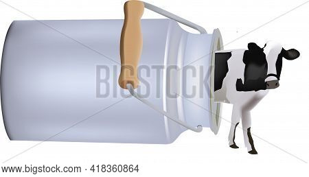 Bovine Dairy Cow Coming Out Of Aluminum Container