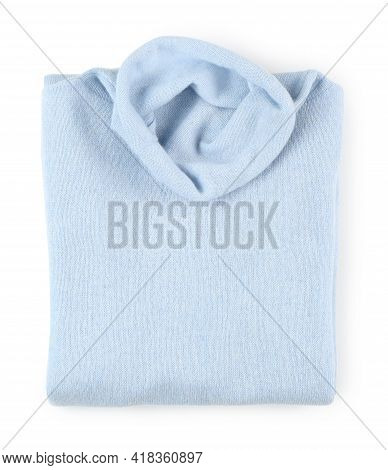 Folded Light Blue Cashmere Sweater Isolated On White, Top View