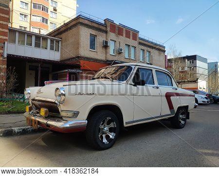 Moscow, Russia - April 17, 2021: Old Russian Car Gaz-21 Volga, Soviet Union Vintage Car. Close-up Vi