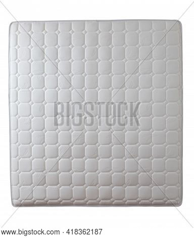 Top View Of White Mattress, Soft And Luxury Mattress Isolated On White Background