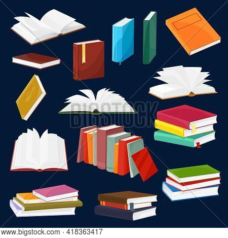 Book And Textbook Vector Set With Cartoon Piles Or Stacks Of Open And Closed Books With Blank Paper