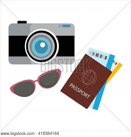 A Set Of Items For Travel: A Camera, Glasses And A Passport With Tickets