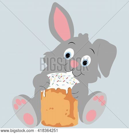 Easter Bunny. Happy Easter Greeting Card With Easter Bunny. Easter Poster, Background Or Card With B