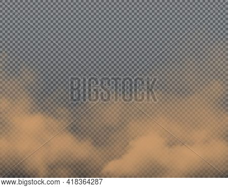 Brown Dust, Sand Or Dirt Vector Clouds On Transparent Background. Realistic Road Dust, Sand Wind Of