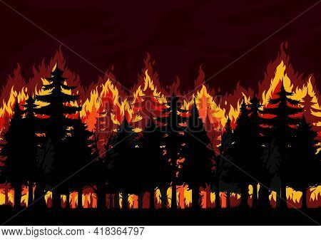 Forest Fire Background, Burning Spruce, Pine Trees Vector Silhouettes. Natural Disaster, Ecological