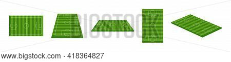 Football Field. 3d Soccer Stadium. Green Football Arena With Perspective View. Isometric Court For S