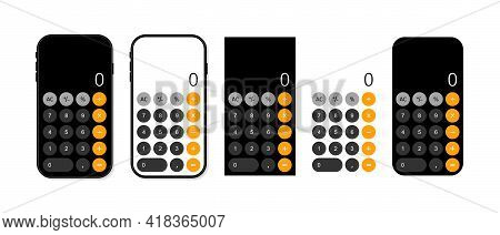 Calculator In Mobile Phone. App For Calculate With Interface In Smartphone. Number On Calculator. So