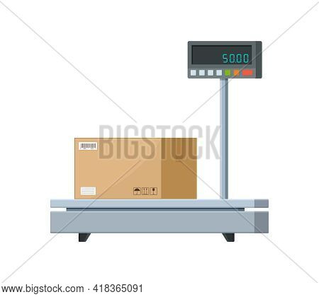 Electronic Weight Scale For Cargo. Industrial Scale For Parcel Box. Balance Machine For Weigh Of Box
