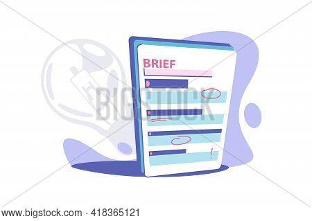 Clipboard Brief Paper Vector Illustration. Business Brief