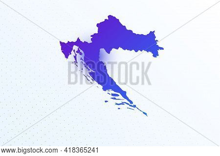 Map Icon Of Croatia. Colorful Gradient Map On Light Background. Modern Digital Graphic Design. Light