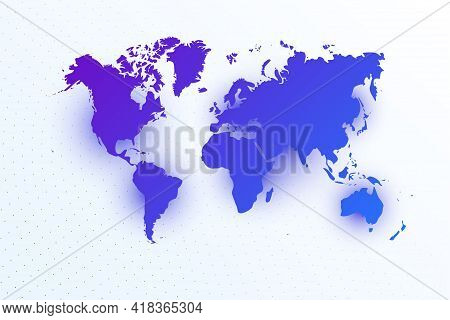 Map Icon Of World. Colorful Gradient Map On Light Background. Modern Digital Graphic Design. Light W