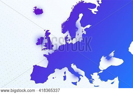 Map Icon Of Europe. Colorful Gradient Map On Light Background. Modern Digital Graphic Design. Light