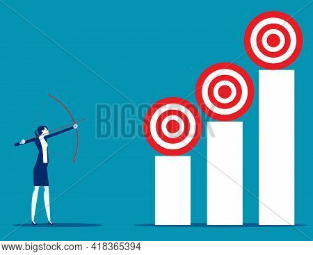 Holding Bow And Arrow Aiming At Targets Of Target At Different Levels