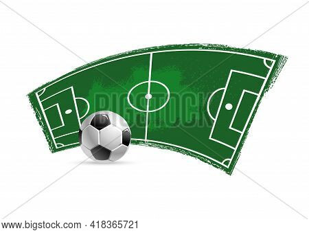 Soccer Football Grungy Vector Icon. Soccer Ball, Playing Field Or Pitch With Green Paint Brushstroke