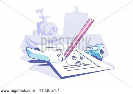 Drawing On Paper Vector Illustration. Piece Of