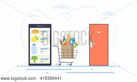 Food Delivery Concept. Online Food Order And Food Delivery To Your Door Service. Order Groceries Onl
