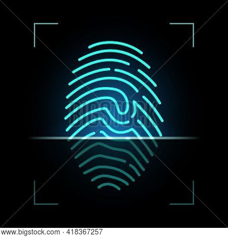 Fingerprint Scanner, Biometric Access Control, Digital Security And Identification, Vector. Finger P