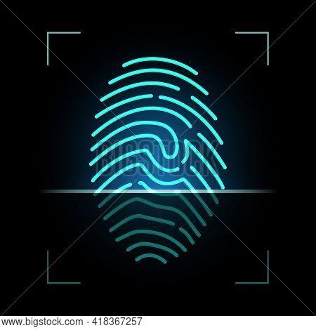 Fingerprint Scanner, Biometric Access Control, Digital Security And Identification, Vector. Finger P
