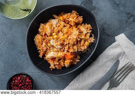 Chicken Enchiladas, Served In Casserole, On Gray Background, Top View Flat Lay