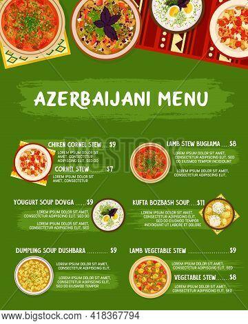Azerbaijani Cuisine Vector Menu Template Yogurt Soup Dovga, Noodle Meatball Soup Khamrashi, Lamb Veg