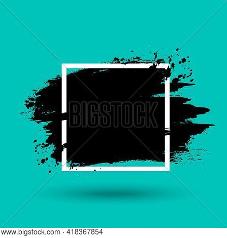 Grunge Frame With Paint Or Ink Splatter And White Square. Abstract Background, Black Paint Splash, S
