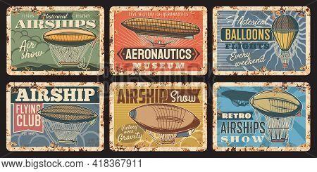 Airship And Hot Air Balloon Vintage Plates Of Vector Air Travel And Aircraft Design. Retro Hot Air B