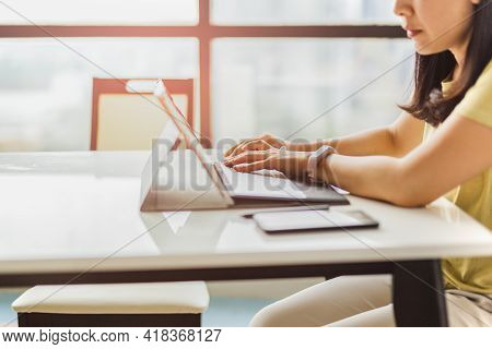 Woman Working At Home Office Hand Typing On Keyboard Computer