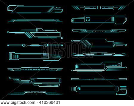 Hud Futuristic Info Box, Display And Borders Interface Elements. Vector Information Screen Panels, T