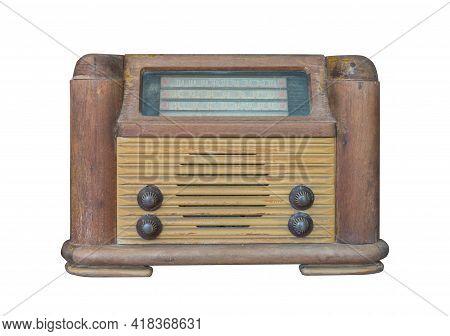 Retro Old Radio Isolate On White Background, Vintage Style