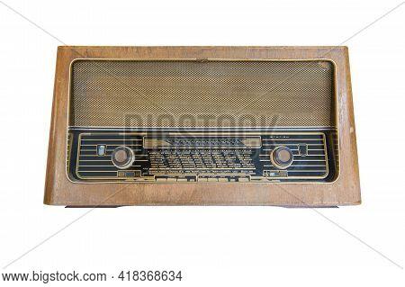 Retro Old Radio Isolate On White Background, Vintage Style.