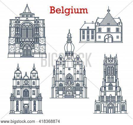 Belgium Landmarks, Cathedrals In Tongeren, Dinant And Diest City Architecture. Belgium Travel Landma