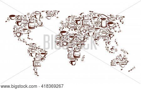 Steaming Coffee Cups, Pots And Beans, Vector World Map With Brown Mugs And Cups Of Hot Espresso, Cap