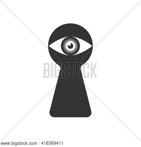 Eye Human In The Keyhole Graphic Icon. Peeking Eye Sign Isolated On Black Background. Someone Peepin