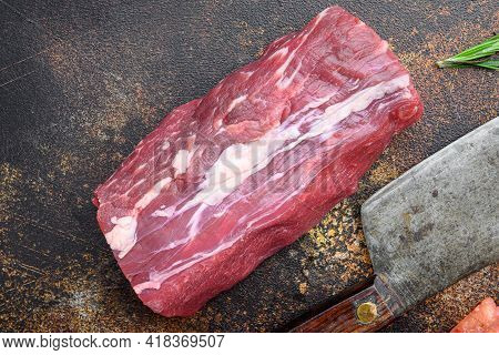 Tenderloin, Or Eye Fillet Cut Raw Marbled Beef Meat Set , With Old Butcher Cleaver Knife, On Old Dar