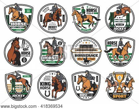 Horse Races And Jockey Polo Club Emblems, Equestrian Sport Rides, Vector Icons. Equine Steeplechase